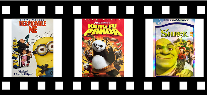 Animated movies for kids, Despicable Me, Kung Fun Panda, Shrek