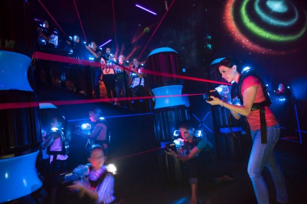 iPlay America: Step into a new galaxy when you enter Cosmic Battle's two-level 6,500 sq. ft. laser tag arena.