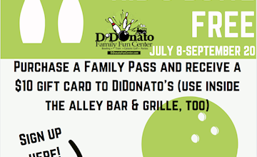 Kids Bowl Free at DiDonato Family Fun Center