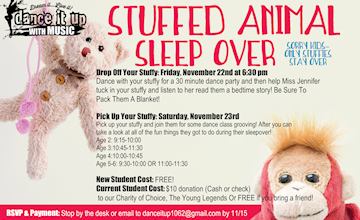 Stuffed Animal Sleepover at Dance It Up With Music