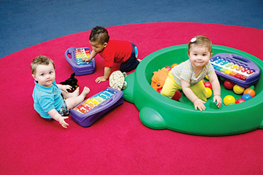 We introduce music and movement in a variety of fun ways