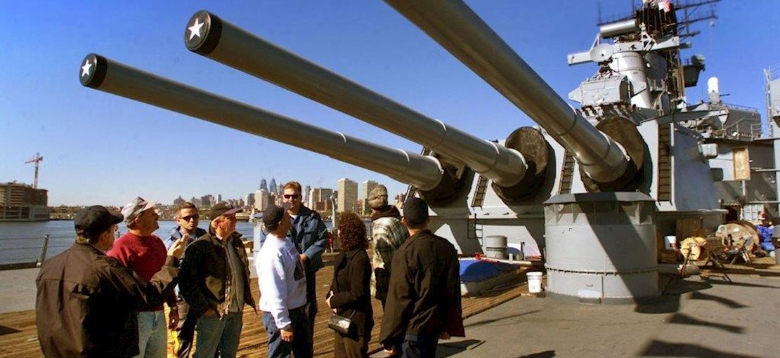 Located on the Camden Waterfront, NJ, the Battleship offers the guided Turret II Tour, which brings guests down five decks to the bottom of the 16-inch gun turret.