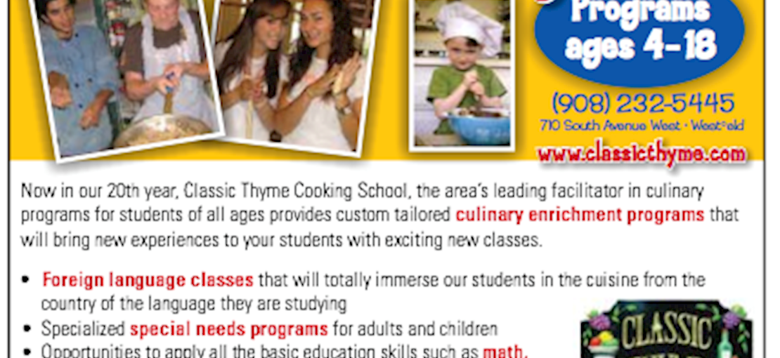 Classic Thyme Cooking School offers cooking programs for kids and adults