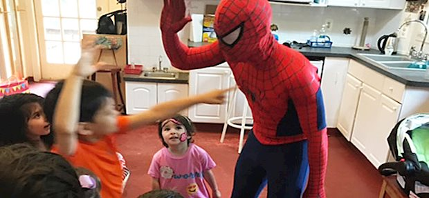 """He was such a hit! It was a rainy , outdoor party and spider man came to the rescue and kept all of the kids entertained and beyond happy!"""