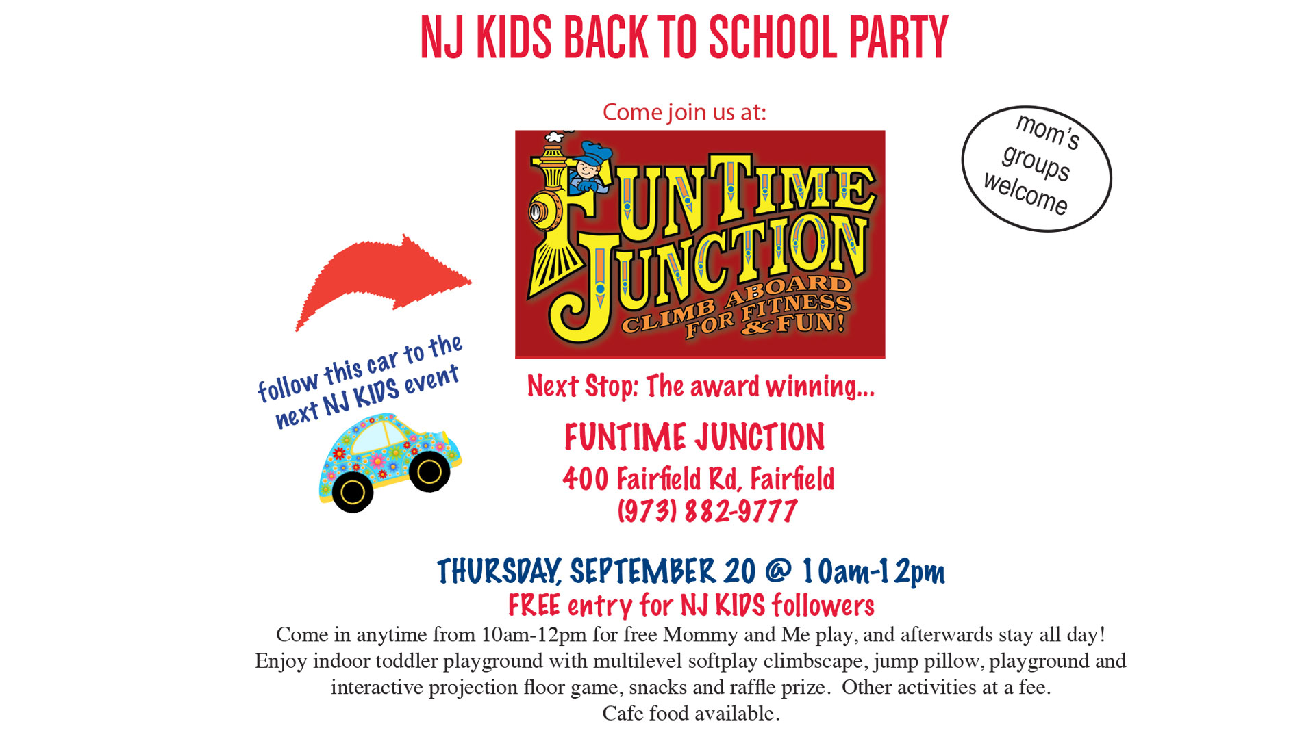 Join NJ Kids Back to School Party at Funtime Junction