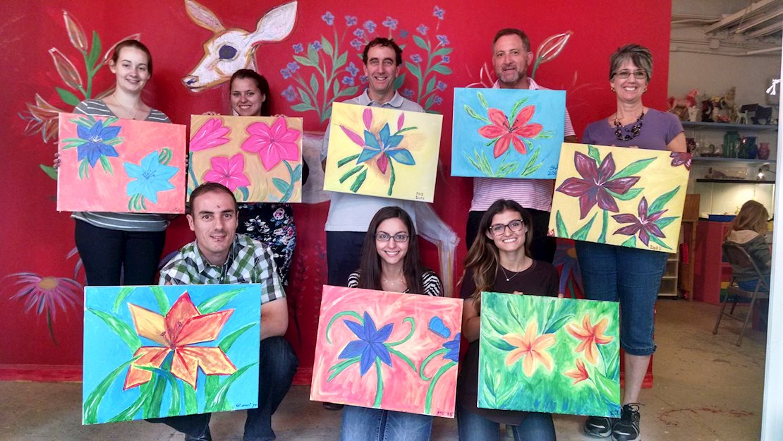 """Creative Hands Art Studio now offers """"Cocktails and Canvas"""", an adult painting class!"""
