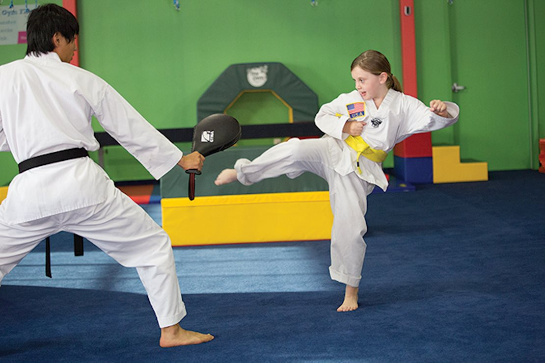 Practice kicking, punching, blocking, yelling, stretching, running and jumping during each interactive class.