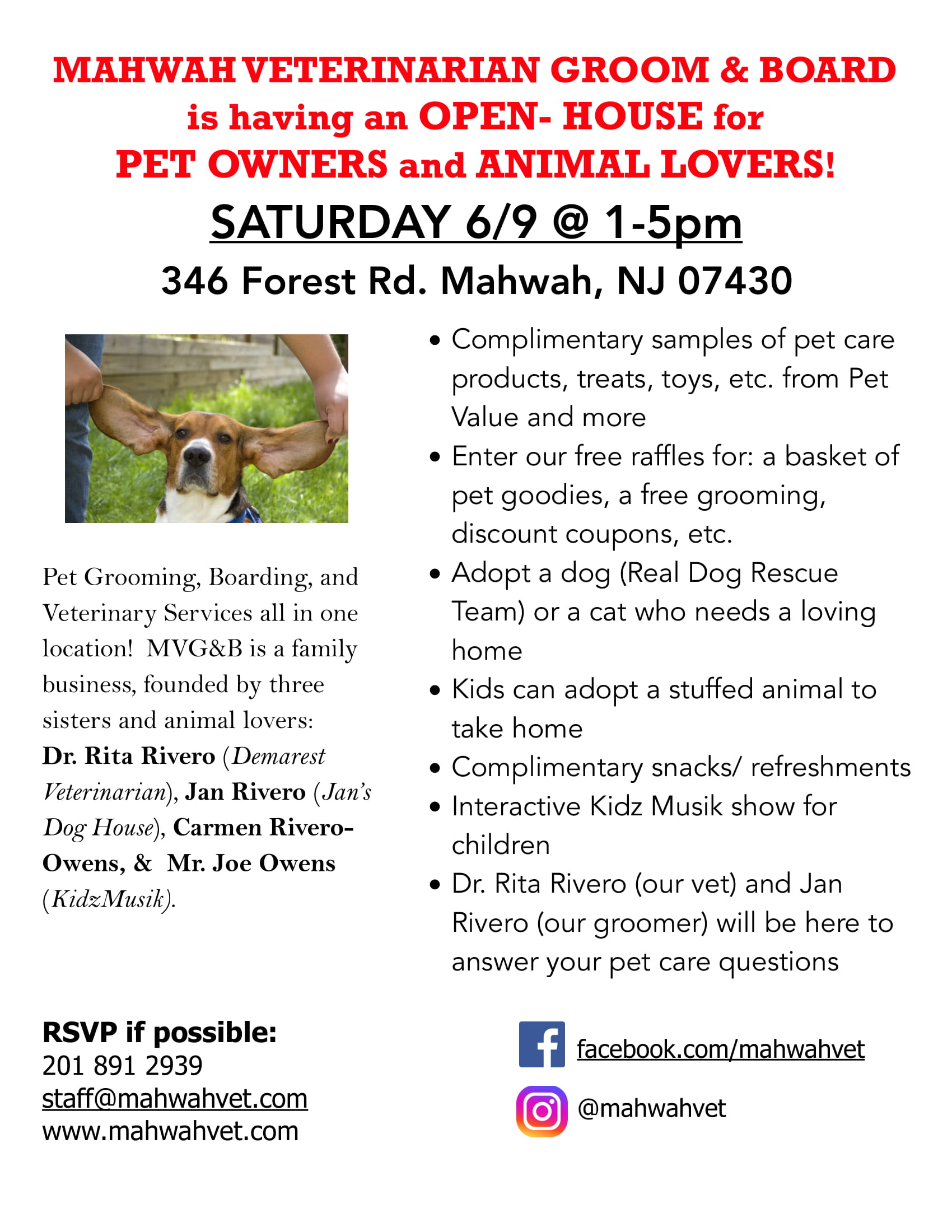 Open House for Pet Lovers! at Mahwah Veterinarian Groom & Board