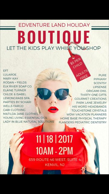 Edventure Land Holiday Boutique-Come and Shop While The Kids Play