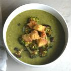 Charred Broccoli Soup with Herbed Croutons