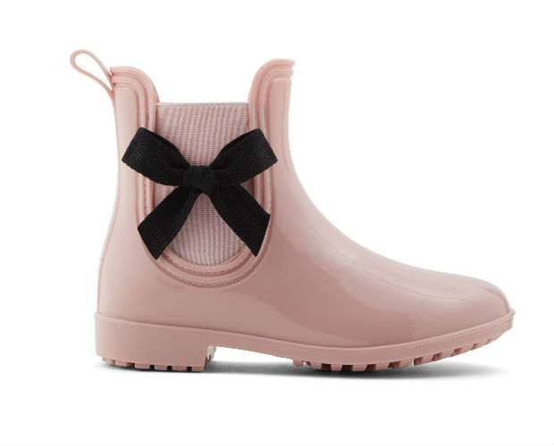 pink rain boot with bow