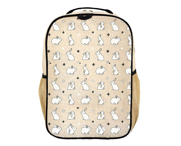 linen backpack with bunnies all over it