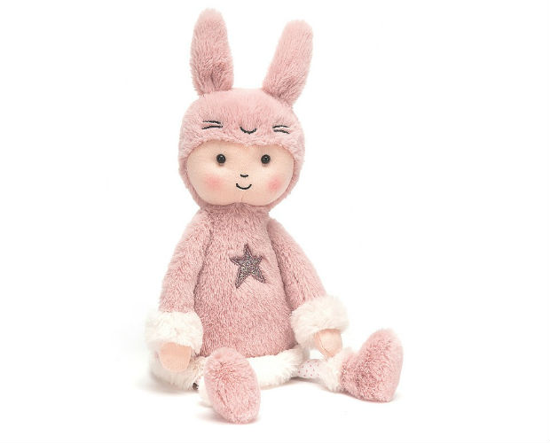 pink bunny with human face (not a creepy as it sounds)