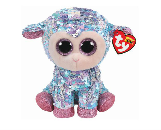 sequin covered lamb stuffed toy