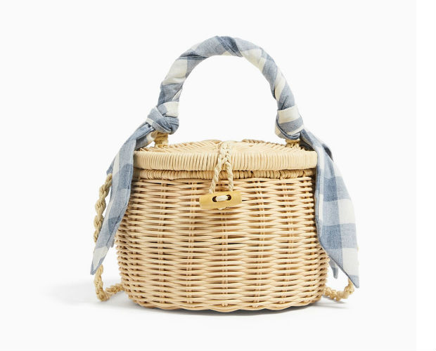 straw bag with scarf