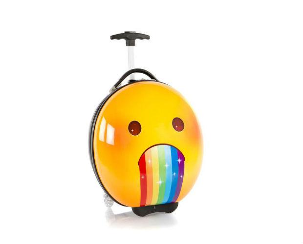 yellow emoji-shaped suitcase
