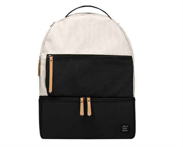 white and black canvas backpack