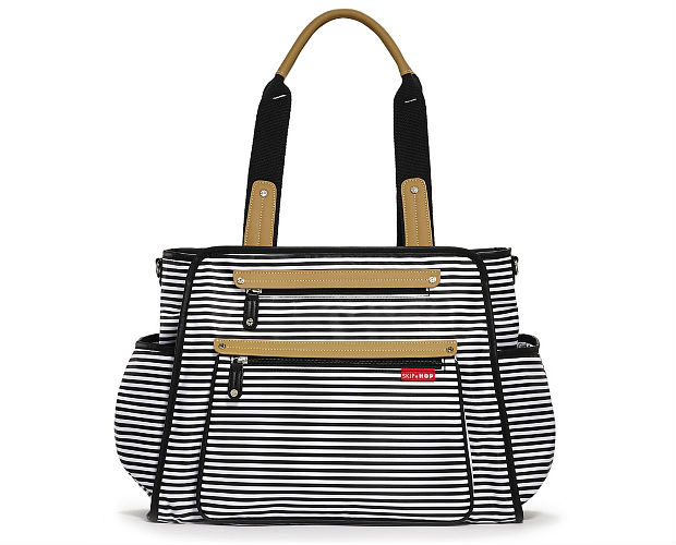 black and white striped diaper bag