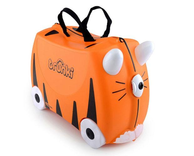 orange tiger-shaped suitcase