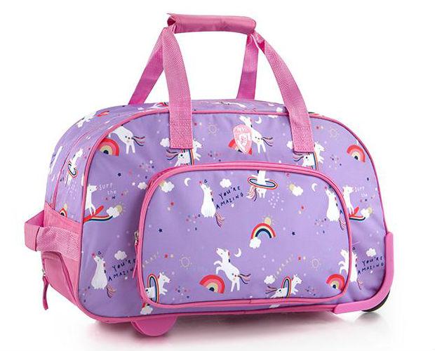 purple bag with rainbow and unicorns