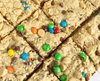 cookie bars with mini m&ms and chocolate chips