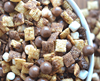 trail mix with cereal, malt candies, mini marshmallows