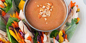 chicken salad rolls with peanut dipping sauce