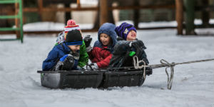 kids on a toboggan