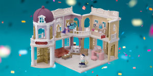 dollhouse on a glitter background