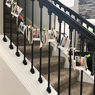 Holiday Photo Garland on stair railing