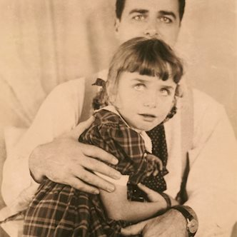 Edwin H. Land with his daughter (test photograph), 1945. Photograph by Meroë Marston Morse. Polaroid Corporation Records.