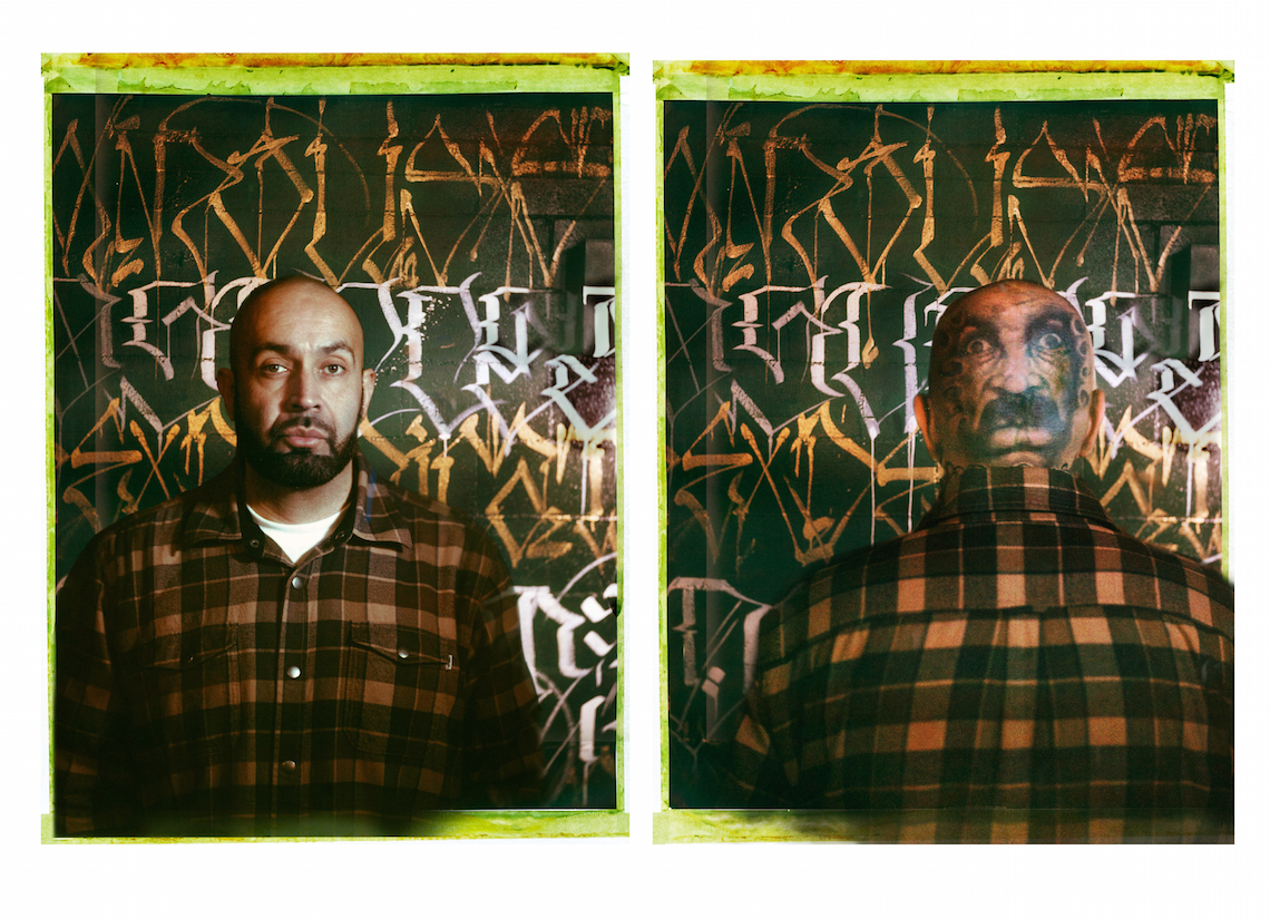 two-plate diptych portrait of Big Sleeps on Polaroid film