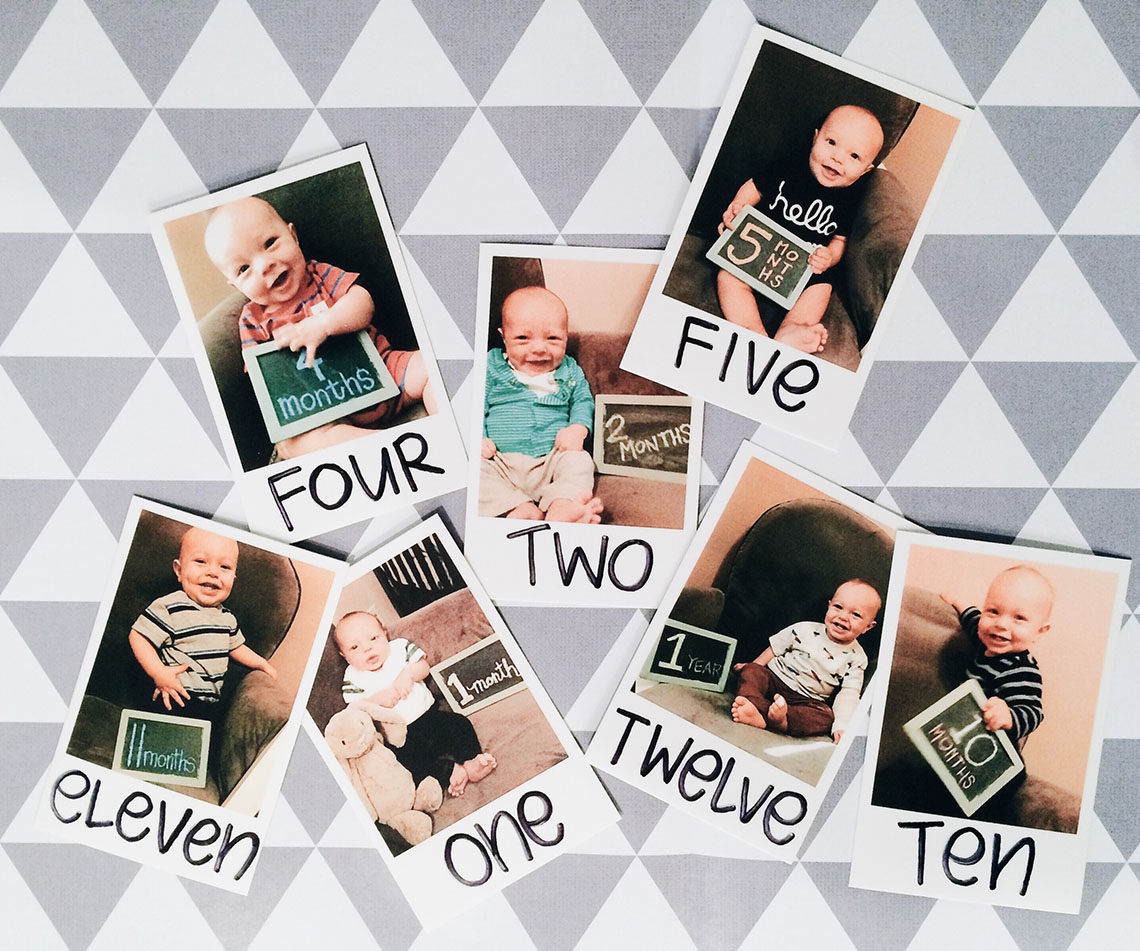 collage of Polaroid baby photos