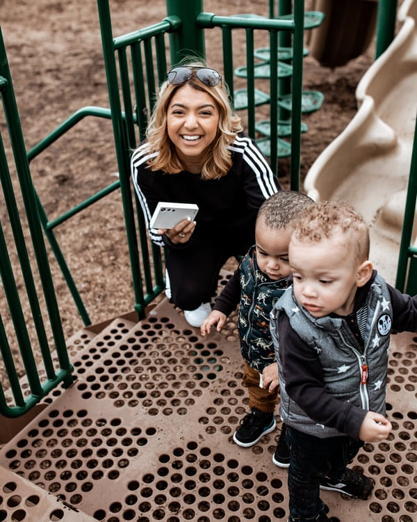 Author with her two nephews at a playground