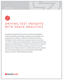 Driving Test Insights with Sauce Analytics