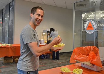 Drew, Schneider Marketing Associate enjoying Associate Appreciation Week
