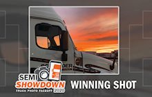 2020 Semi Showdown truck photo contest winning sunset photo