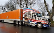 Schneider's convoy that lead Wreath of America into Arlington