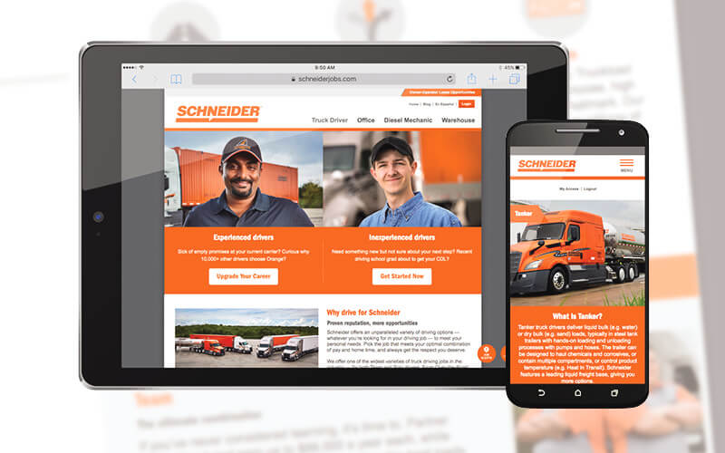 Schneider truck driver website redesign