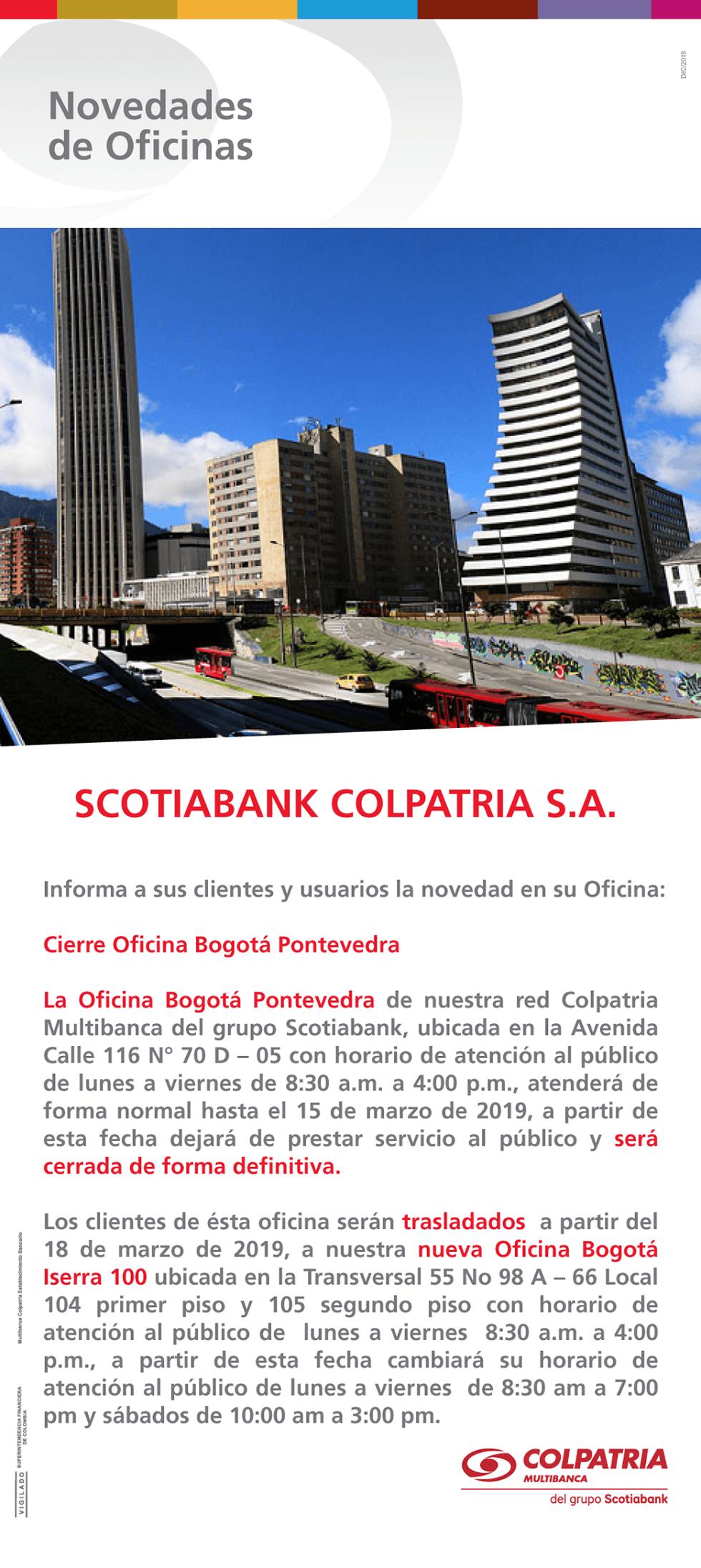 Cierre oficina Bogotá Pontevedra