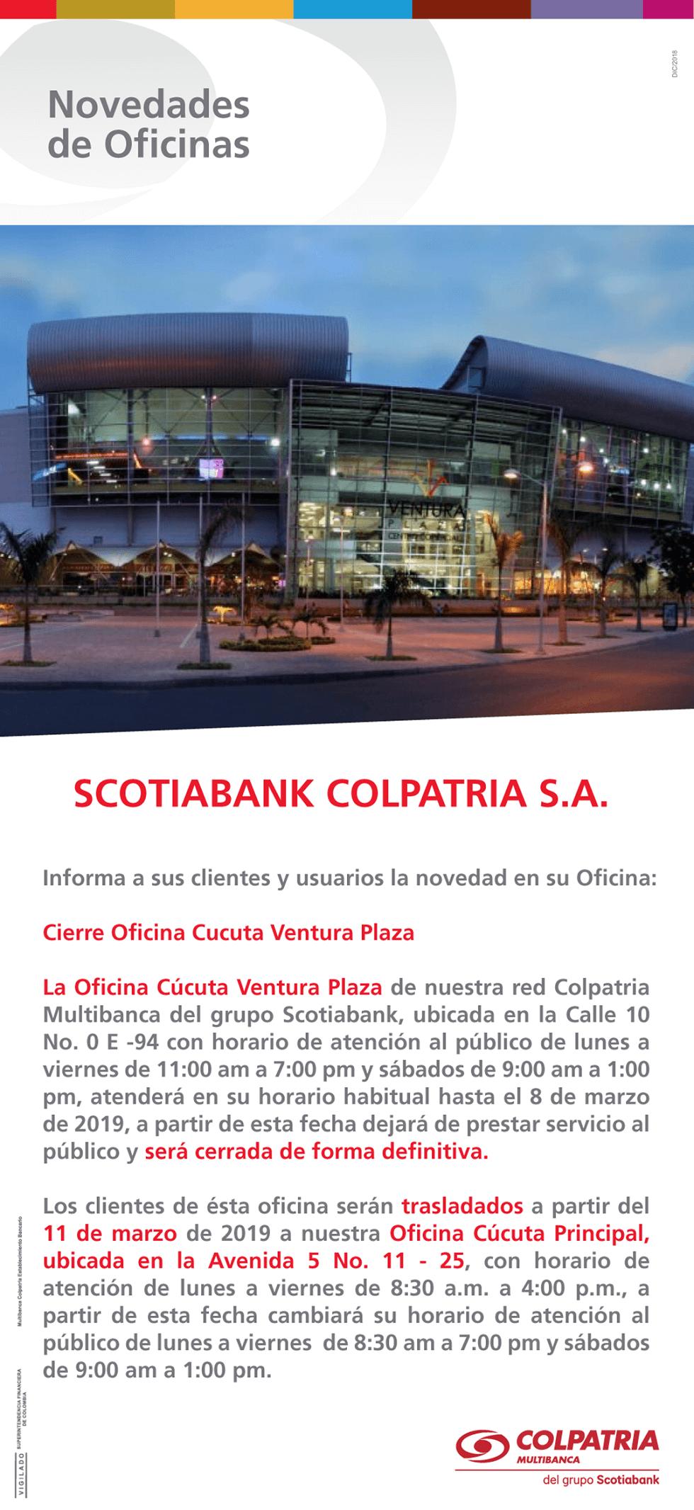 Cierre oficina Cúcuta Ventura Plaza