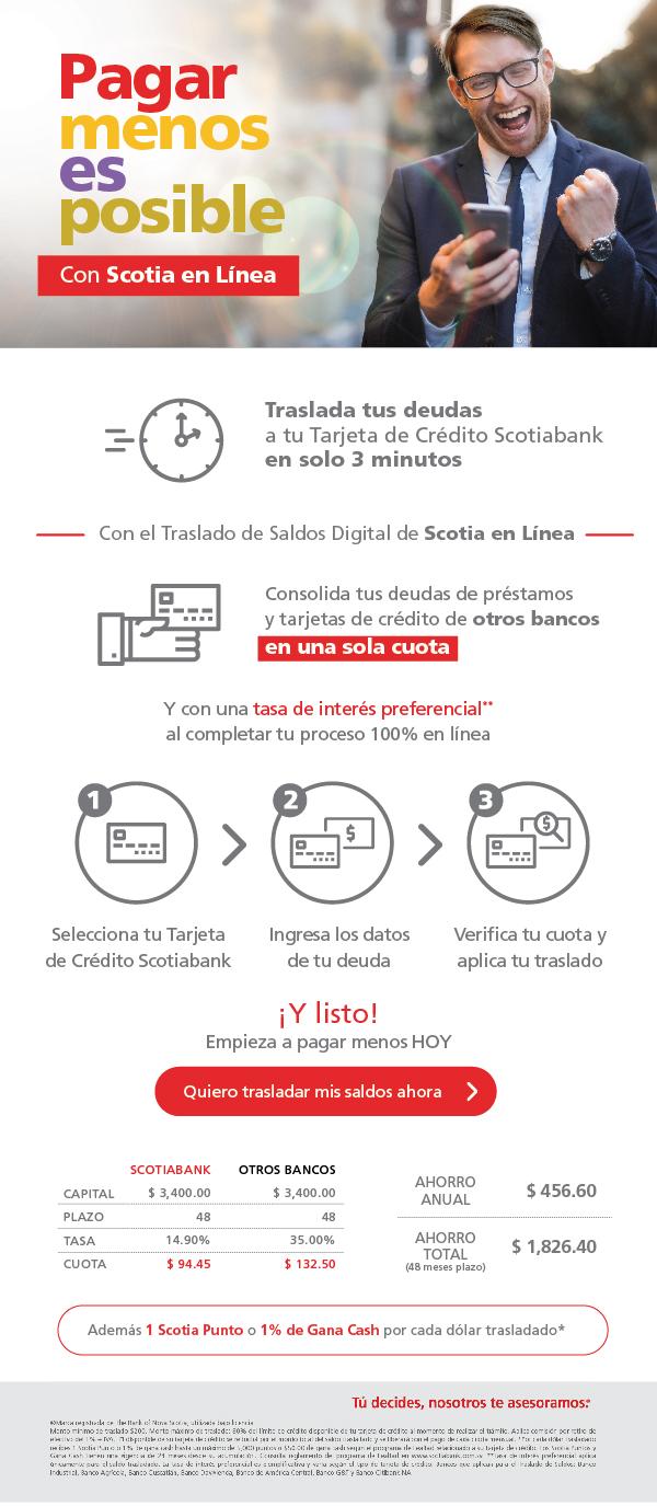 Pagar Menos es posible con Scotia en Linea y el traslado de saldos digital de Scotiabank