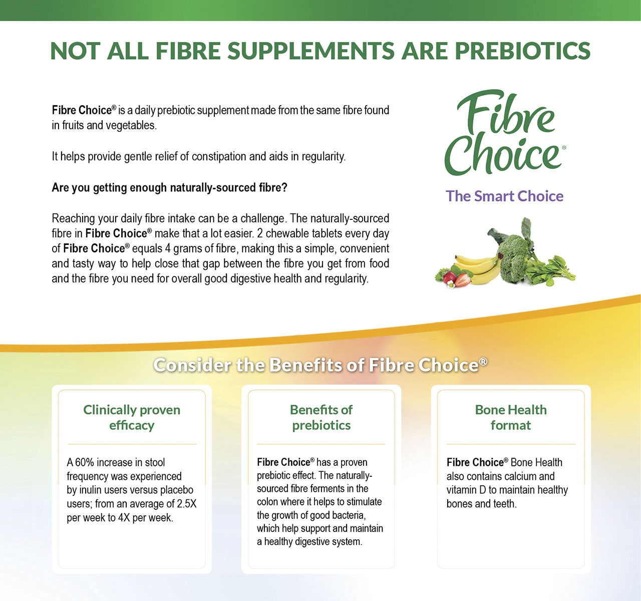 Fibre Choice® - A Daily Naturally-Sourced Prebiotic Fibre for Gentle Relief of Constipation