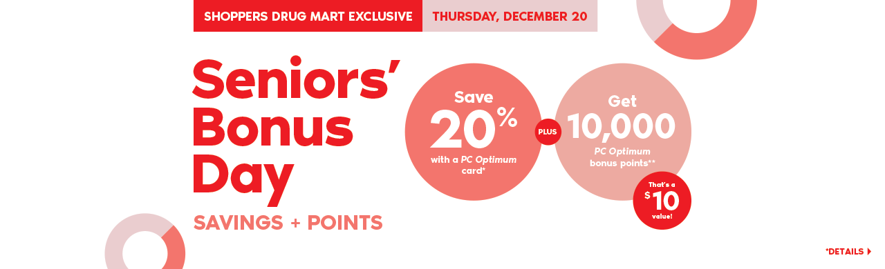 Thursday, December 20: seniors save 20% PLUS get 10,000 bonus points with a purchase of $50 or more on almost anything at Shoppers Drug Mart.
