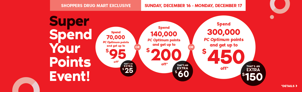 Super Spend Your Points Event! Spend 70,000 points and get up to $95 off. That's an extra $25. Or spend 140,000 points and get up to $200 off. That's an extra $60. Or spend 300,000 points and get up to $450 off. That's an extra $150. *Details >