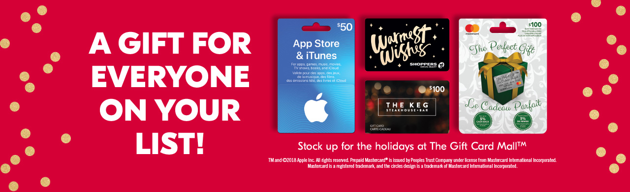 A gift for EVERYONE on your list! Stock up for the holidays at The Gift Card Mall. Click to learn more.