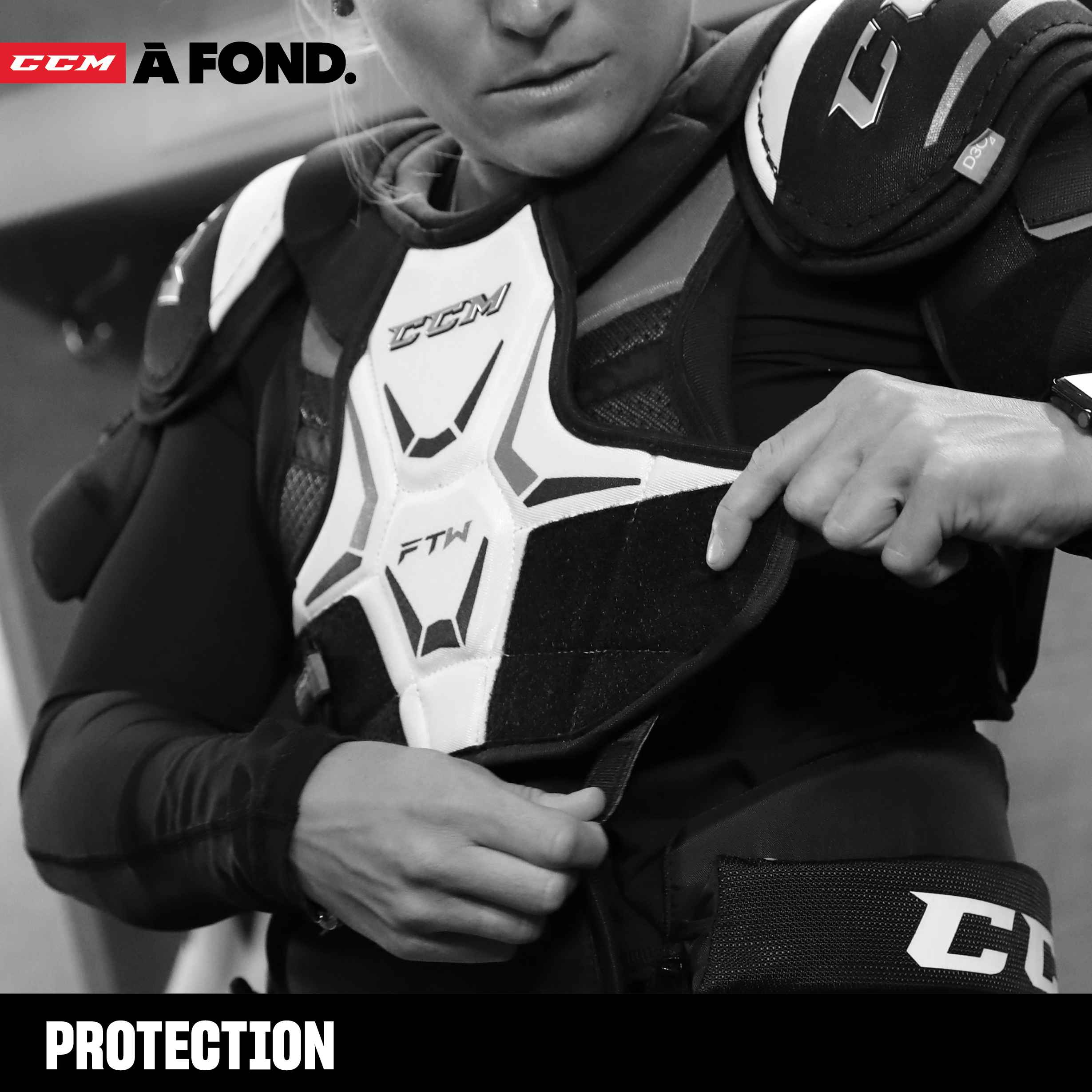 CCM Hockey Protective Including Helmets, Shoulder Pads, Elbow Pads, Shin Pads, & Gloves.