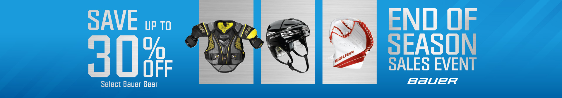 Shop Quality Bauer Hockey Sticks, Skates, Shoulder Pads, Elbow Pads, Shin Guards, Helmets and Goalie Gear All Reduced With Clearance Pricing Available For Sale At Your Closest Source For Sports Hockey Store Near You