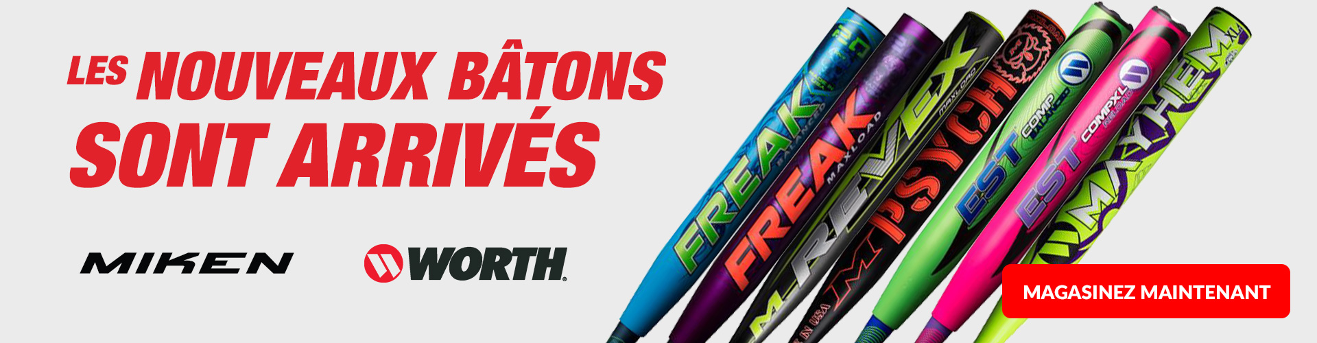 Shop our wide selection of Miken & Worth softball, Slo-Pitch, and Fastpitch Baseball Bats available for sale today at your local Source For Sports baseball store near you.